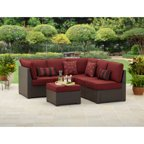Better homes and gardens rush valley 3 piece outdoor sectional sofa set seats 5