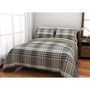 American Originals Grey Plaid Reversible Bed in a Bag Bedding Set