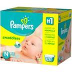 Pampers Swaddlers Diapers, Newborn, 128 count